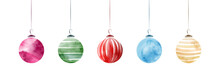 Set Of Creative Elegant Christmas Balls With Watercolor Hand-painted