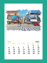 Calendar Sheet Layout July Month 2021 Year. Times Square. New York. USA. Hand Drawn City Sketch. Vector Illustration.