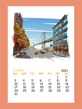 Calendar Sheet Layout October Month 2021 Year. San Francisco City Hand Drawn. Oakland Bay Bridge Sketch, Vector Illustration