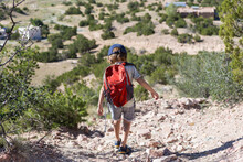 4 Year Old Boy Hiking In Rural...