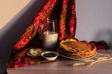 Pancake Day Holiday, Plate Of Pancakes, Jam And Fresh Bananas. Russian Traditional Maslenitsa Holiday