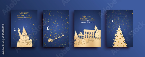 Obraz Merry Christmas paper cut city house card set - fototapety do salonu