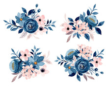 Blue Indigo Pink Floral Bouquet Collection With Watercolor
