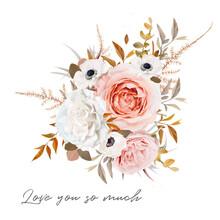 Stylish Vector Floral Bouquet Design. Blush Peach, Pale Pink Rose, Ivory White Anemone Flower, Taupe Brown, Orange Fall Eucalyptus, Ruscus, Fern Ocher Leaves Elegant Editable Isolated Designer Element
