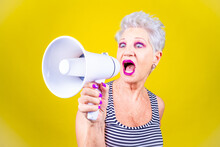 Senior Grey Haired Woman Screa...