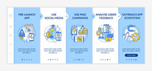 App Marketing Tips Onboarding Vector Template. Pre Release Launch App. Using Social Media. Responsive Mobile Website With Icons. Webpage Walkthrough Step Screens. RGB Color Concept