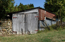 Old Weathered Wooden Barn With...