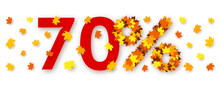 Red Number Seventy And Percent Sign Made From Maple Leaves
