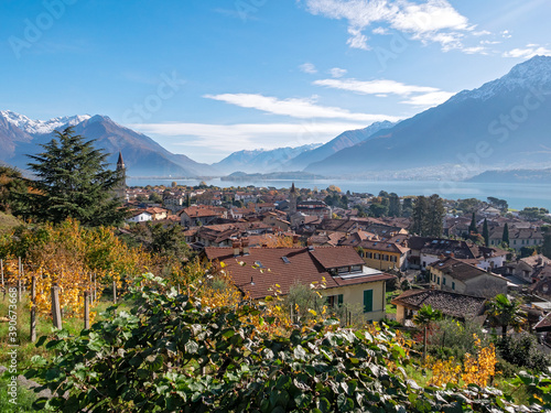 Canvas Print Panorama of Domaso on Lake Como