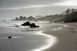 canvas print picture - Dramatic view of Keurboomstrand Beach on a Misty Evening, Plettenberg Bay, South Africa