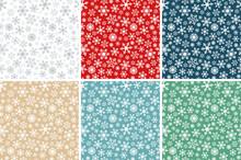 Christmas Winter Snowflake Flat Colors Seamless Pattern Set