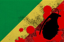 Congo Flag And MK2 Frag Grenade In Red Blood. Concept For Terror Attack Or Military Operations With Lethal Outcome