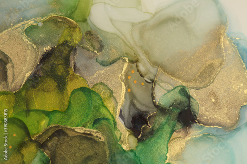 Art Abstract watercolor flow blot painting. Color canvas marble texture background. Gold (bronze) Alcohol ink.