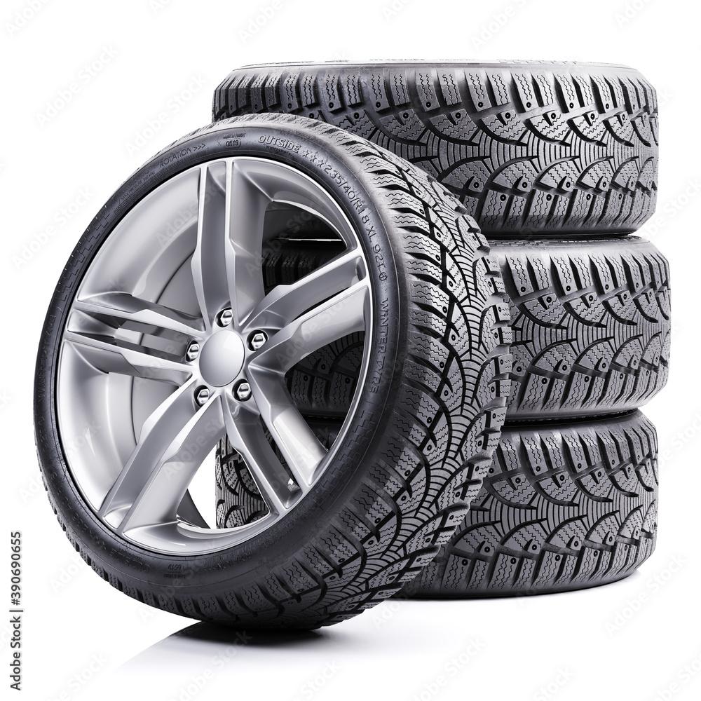 Fototapeta Group of car winter tires 3D