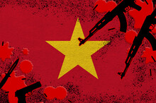 Vietnam Flag And Guns In Red Blood. Concept For Terror Attack And Military Operations