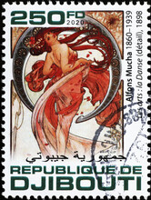 Allegory Of Dance By Alfonse Mucha On Stamp