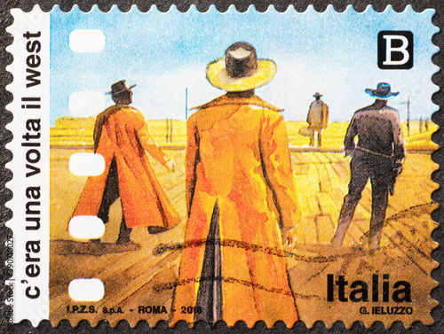 Fotomural Movie Once Upon a Time in the West on postage stamp