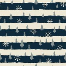 Vector Black White Snowflake Tree Seamless Pattern