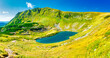 Blue lake panorama landscape in mountains with blue water. High resolution panorama
