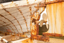 Rusty Part Of The Back Of A Boat, Also Known As The Aft Or Stern. Propeller Of Boat.