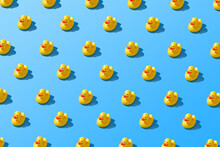 Flat Lay Of A Creative Summer Yellow Rubber Duck Pattern
