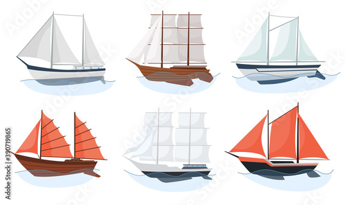 Tela Sea sailboats ships set of water carriage and maritime transport in modern flat design style