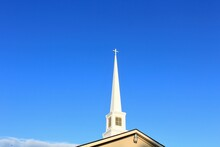 Church Steeple With Blue  Sky In Sterling Kansas USA.
