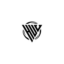 Initial Letter HUV Triangle Monogram Simple Modern Clean Vector Logo