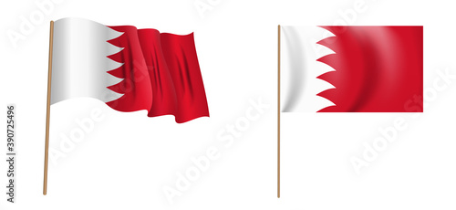 colorful naturalistic waving flag of the Kingdom of Bahrain Wallpaper Mural