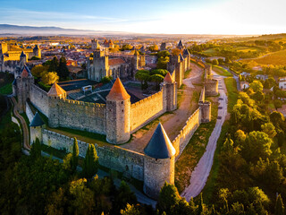 Aerial view of Carcassonne, a French fortified city in France