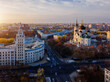 Evening autumn Voronezh cityscape. Annunciation Cathedral and Tower of Management of South-east railway at sunset, aerial view