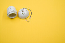 Top View Of White Tea Strainer...