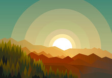 Autumn Sunrise In The Mountains. Coniferous Forests. Old Mountains. Vector Illustration.