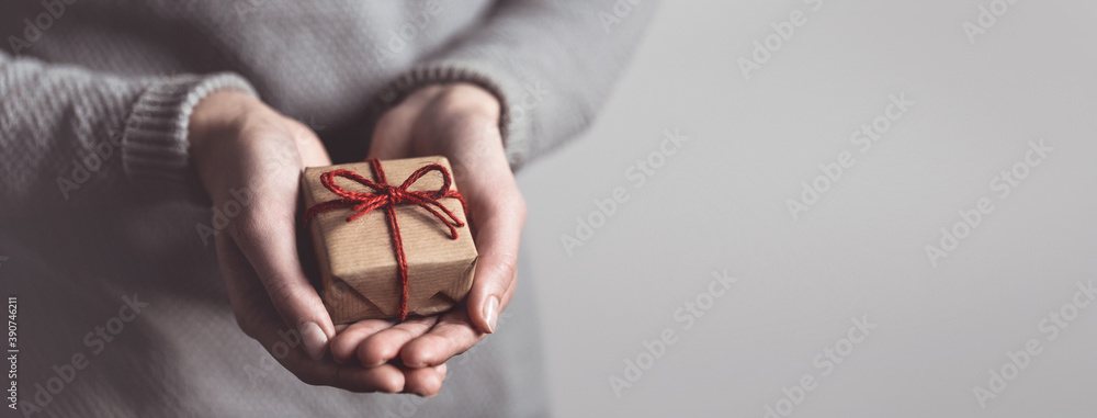 Fototapeta Close up of female hands holding small gift. Sharing concept. Christmas present.