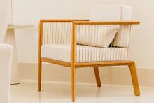 Modern Chair With White Cushio...