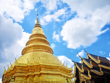 Low Angle Shot Of The Wat Phra That Hariphunchai Buddhist Temple In Lamphun, Thailand