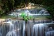 Huai Mae Khamin Waterfall, the most popular attraction at Khuean Srinagarindra National Park in Kanchanaburi Province in Thailand.