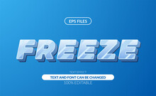 Ice Frost Freeze Glass 3d White Sans Serif Editable Text Effect. Eps Vector File
