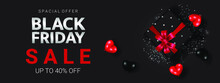 Silver Black Friday Lettering With Black Gift Box Among Black And Red Heart On The Dark Background Poster For Promotion.