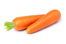 Fresh Organic Two Carrots Isolated On White Background.
