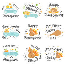 Happy Thanksgiving Card Set With Pumpkin Pie Quote