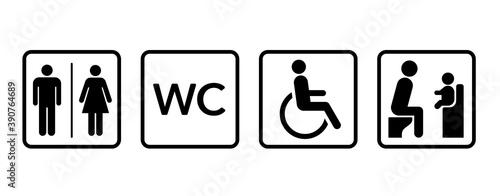 Vászonkép アイコン トイレの男女 身体障害者 ベビーチェア