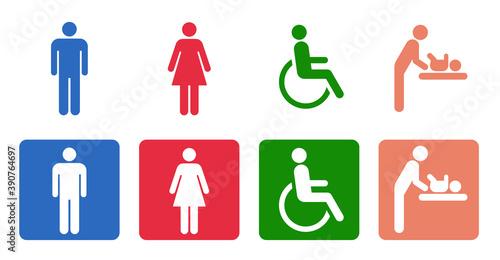 アイコン トイレの男女 身体障害者 ベビーシート Tapéta, Fotótapéta