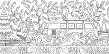 Outline Hand Drawn FLoral Camp...