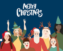 Merry Christmas  Banner Illustration Of Young People Friend Group Together At Holiday Winter Party. Diverse Costumes Friends Team From Different Cultures Celebrating.