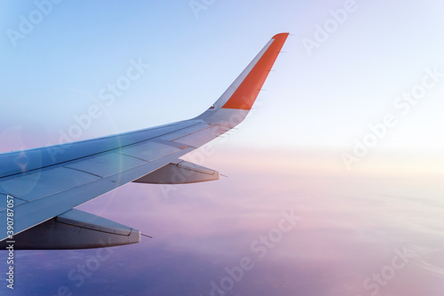 Clouds and sky as seen through the plane window. background, space for copy space