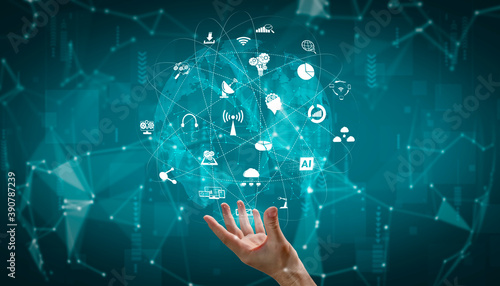 Fototapeta Advanced communication and global internet network connection in smart city . Concept of future 5G wireless digital connecting and social media networking . obraz