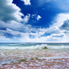 Square Bright Seascape With White Clouds, Blue Sky And Sea Surf.