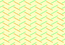 Vector Of Random Yellow And Green Curl Lines On Light Yellow Background