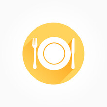 Cutlery Long Shadow Color Icon